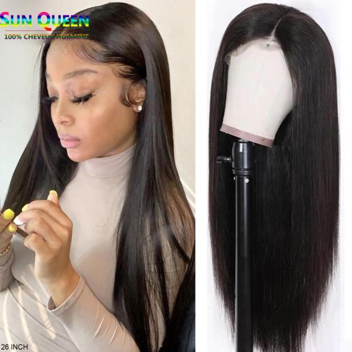 26 Pouces Perruque Lace Frontal Wig LISSE Sans Colle Naturelle Brésilienne Remy 180% Densité