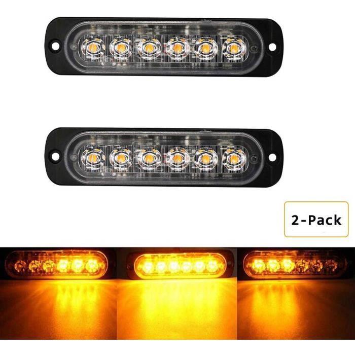 2Pcs 6 LED Feux de Pénétration Lumière Stroboscopique 19 Modes Auto Flash Lampe Urgence pour Véhicule Camions SUV, 12~24V, Amber