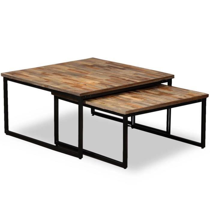 P42 Table basse gigogne 2 pcs Teck massif de recuperation