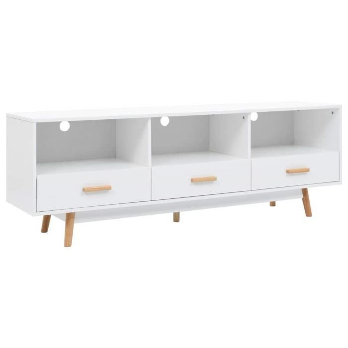 Meuble télé buffet tv télévision design pratique blanc 160 cm mdf 2502116/2