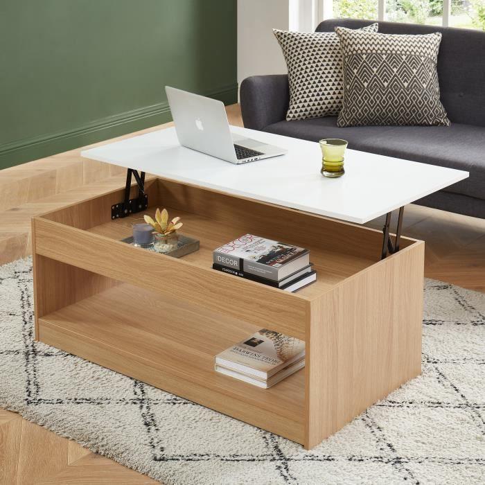 ABEL Table basse avec plateau relevable - décor bois et blanc - L110cm