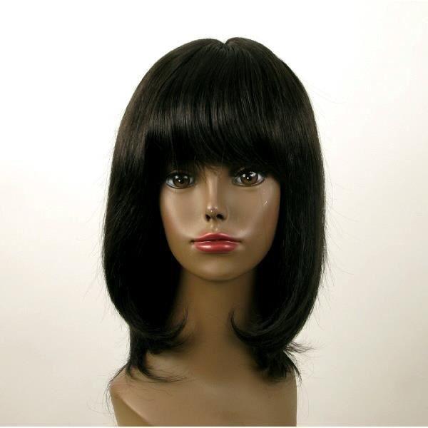 Perruque femme afro mi longue noir ISA 01 1B