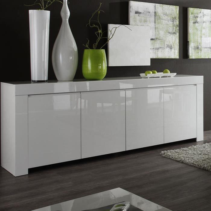 Bahut design blanc laqué TRIPOLI 210 cm