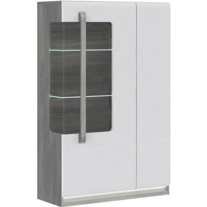 Vitrine 2 portes blanc laqué et décor chêne gris - Collection ALEXIANE