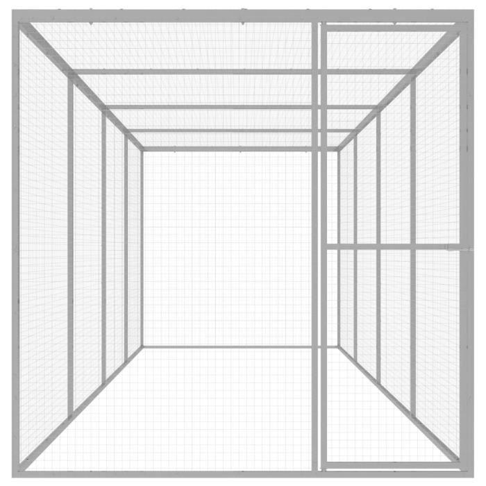 Fur© Cage pour chat Caisse de transport Décor - Cage de transport 6x1,5x1,5 m Acier galvanisé ♕19045