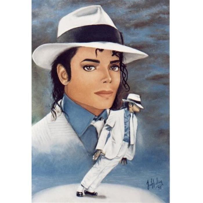 PZLT131 -Michael Jackson-5D-DIY-Diamond-Painting-Round Diamond-Cross Stitch-Tool Kit-Broderie-Mosaïque-Art Taille:30x40CM