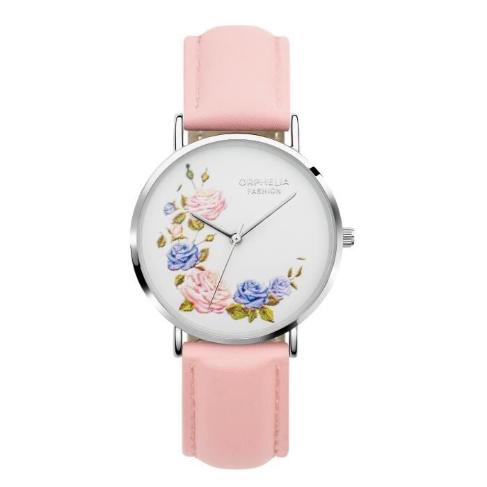 Orphelia Fashion - Montre Femme - Quartz Analogique - Bracelet Cuir Rose - OF711815