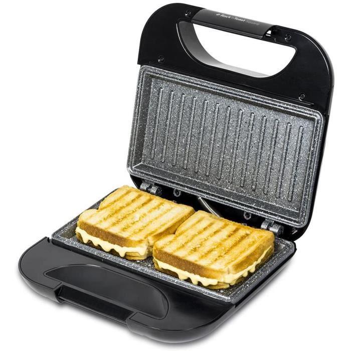 Cecotec Rock'n Toast Sandwich Squared, Grill avec revêtement anti-adhérent, Capacité pour 2 sandwichs, Surface Grill, Poignée qui...