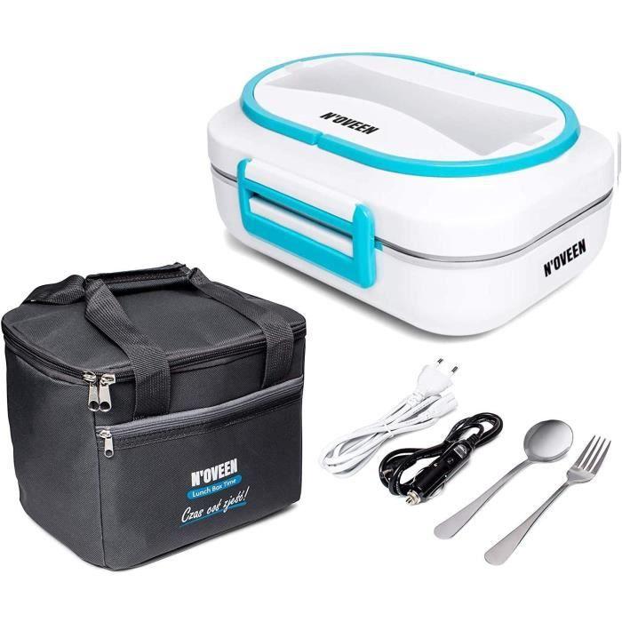 N'OVEEN Lunch Box Electrique LB520 Chauffe-Plat Isotherme Lunchbox Plaque Chauffante de 1 Litre de Capacité - 230V + 12V (Auto) - Fo