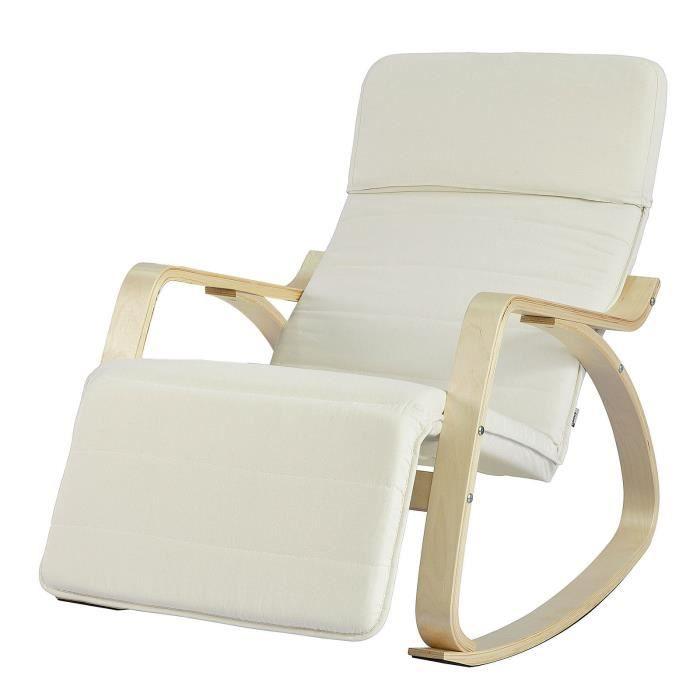 SoBuy® FST16-W Fauteuil à Bascule Avec Repose-pied Réglable Design Rocking Chair Fauteuil Relax Bouleau Flexible
