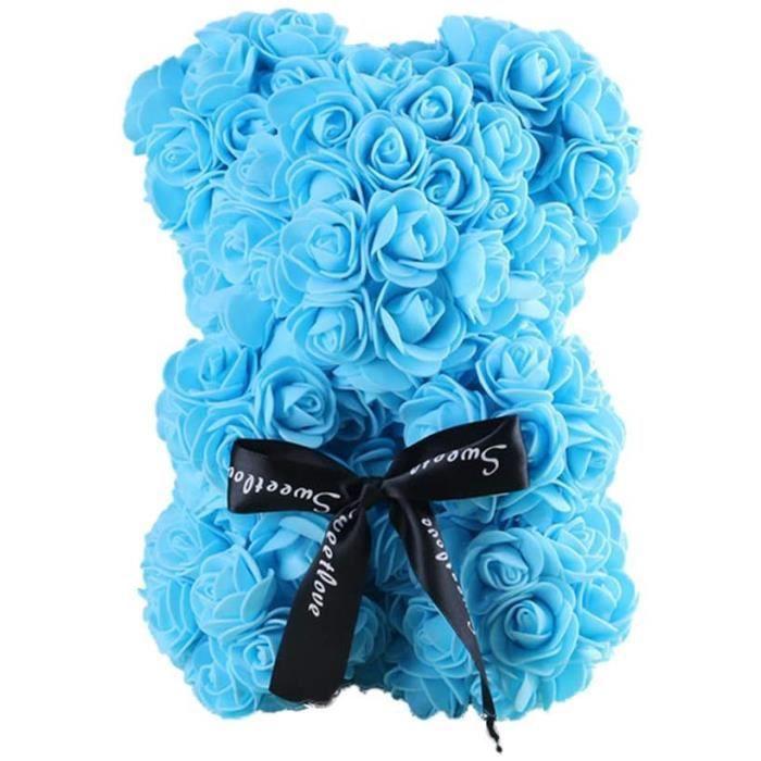 Rose Ourson, Ours Artificielle Toujours Cadeau Anniversaire Anniversaire Cadeau Saint Valentin, 25cm, Bleu