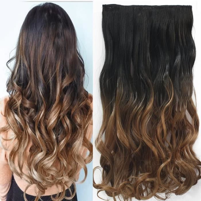 Extensions de cheveux Neverland 24 Inches (60cm) Full Head Clip in Hair Extensions Ombre Wavy Curly Dip Dye 312602