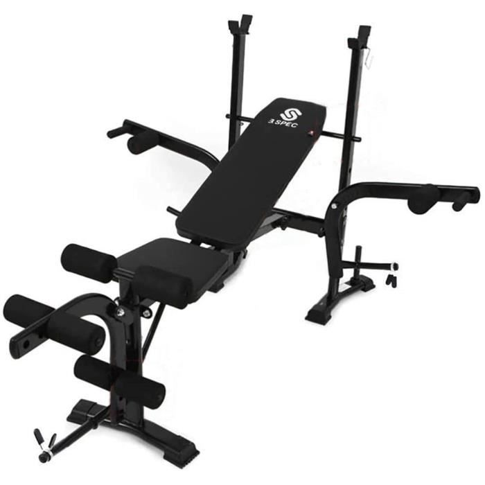BANC DE MUSCULATION KirinSport Banc de Musculation avec Support de Bar Pliable Reacuteglable Ajustable dappartement Support de B124