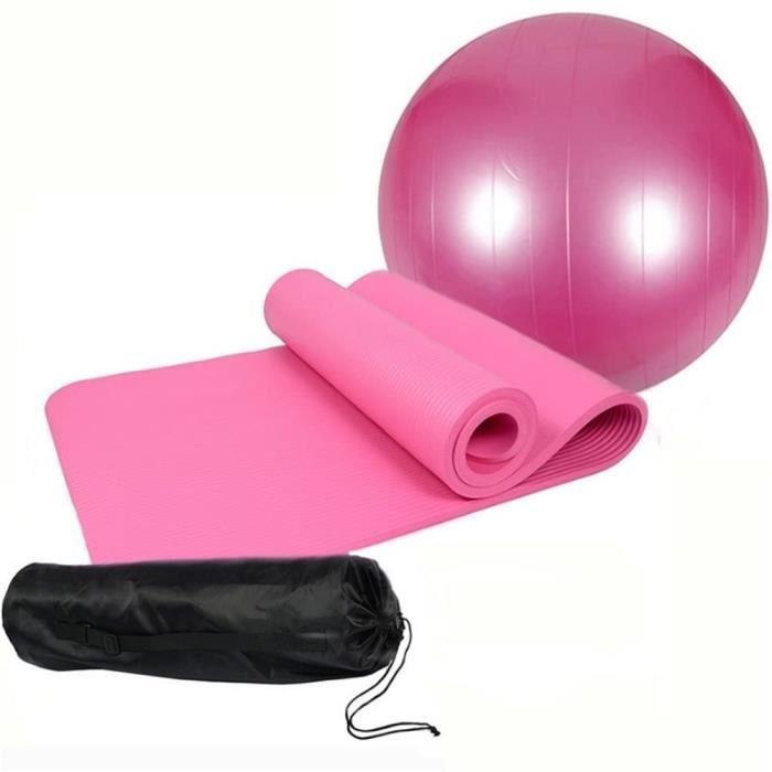 tapis QUBABOBO Kit-Set de Yoga y Compris Tapis de Yoga-Pilates Antid&eacuterapant Epais de 10mm + 65cm-75cm Yoga Ball+ Sac de T419