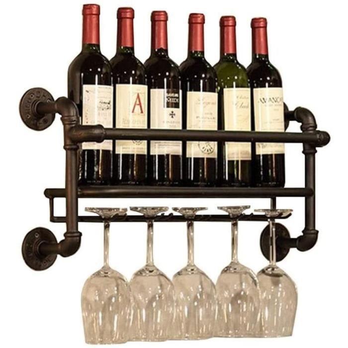 Porte-vin support de mur meacutetal -Porte-vin de vin suspendu -Porte-bouteille Vintage -Porte-vin mural rustique -Tableau murale A
