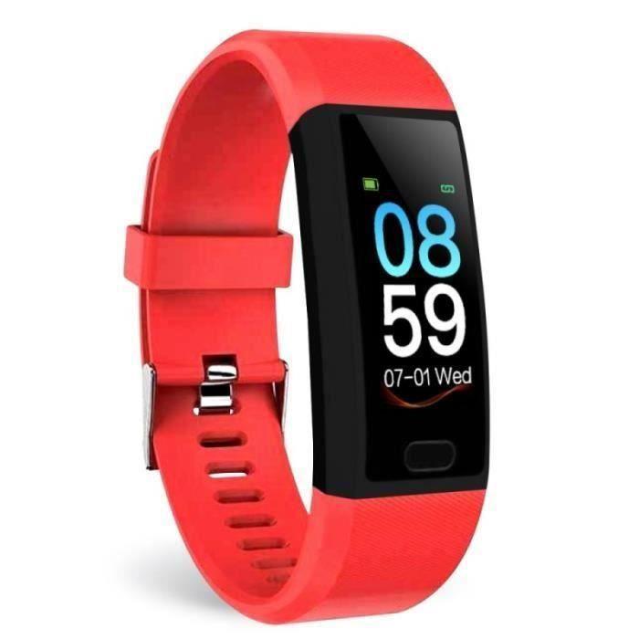 Montre Connectée Rouge Femme Homme Écran Couleur 1.14 - Imperméable Remise En Forme Tactile Monopoint Tracker Bracelet