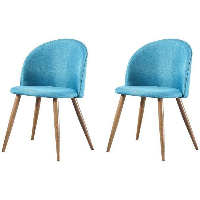 MAEVA - Lot de 2 chaises scandinave - Tissu - Vert canard - pieds en métal design salle a manger salon - 52 x 48 x 79 cm