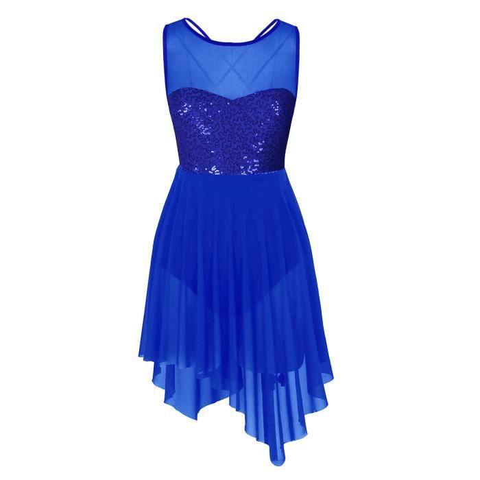 Femme Robe Danse Ballet Justaucorps de Danse Classique Tutu Robe à Paillettes Bleue XS-XL
