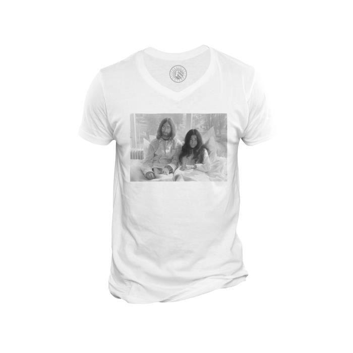 T-shirt Homme Col V John Lennon Yoko Ono Vintage Beattles Noir & Blanc 70's