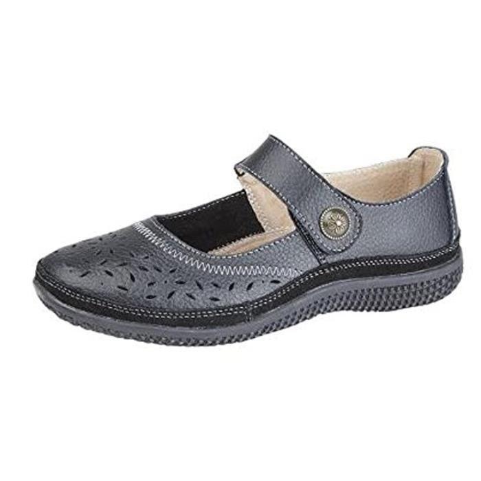 Sandale De Randonnee GSK2K Cuir large FIT velcro Chaussures EEE Casual Taille 4-9 Noir Taille-38