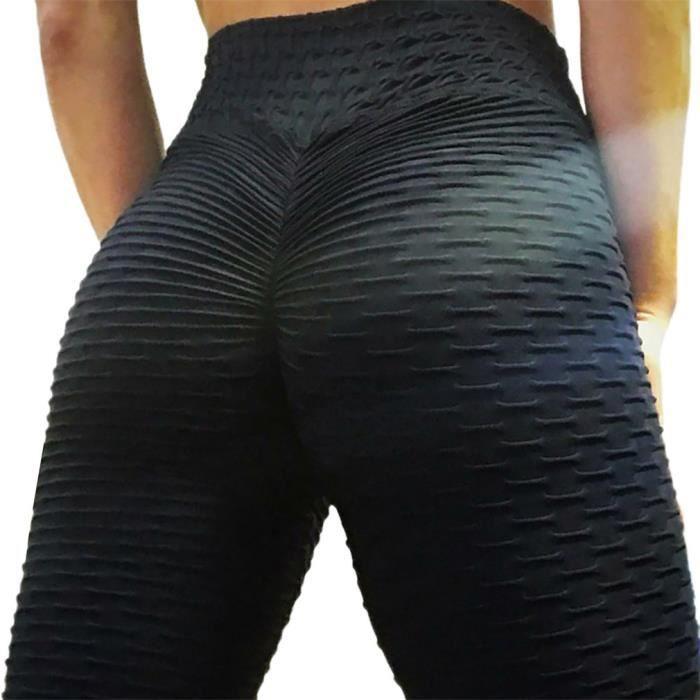 Legging anti-cellulite de levage des fesses pour les femmes Pantalon de yoga taille haute Workout, noir, XXXL