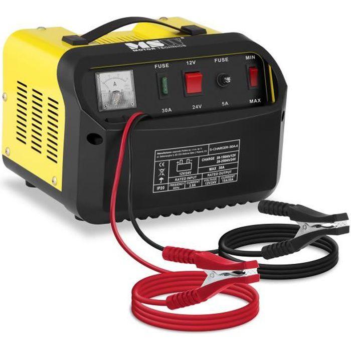 Chargeur de batterie voiture MSW S-CHARGER-30A4 (12/24V ampérage charge 15/20A pour les batteries de 20-250Ah)