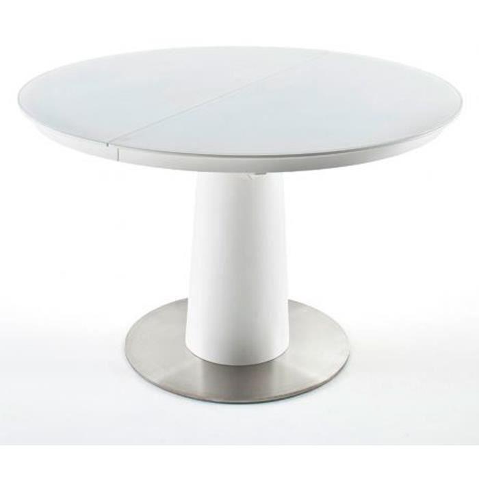 Table à manger extensible ronde laqué blanc mat - 120-160 x 76 x 120 cm