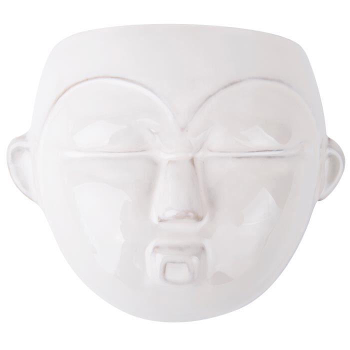 Present Time pot de plante mural Masque rond 18 cm céramique blanche