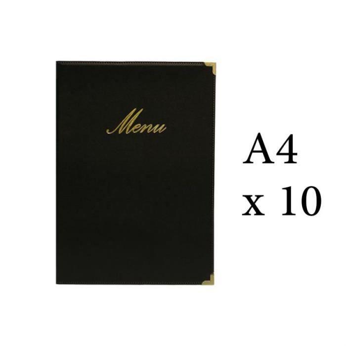Lot 10 protège-menu Classique format A4 couleur noir - Porte menu hôtel restaurant - Securit 5 Noir