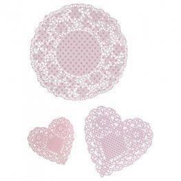 Talking tables napperons en papier sous- gateau coeurs roses