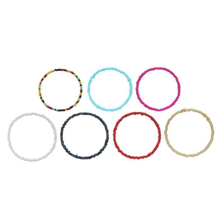 7pcs Simple Decor Petits Bracelets De Perles pour Femme BRACELET - GOURMETTE - JONC