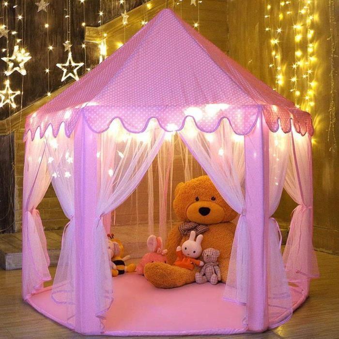 Tente Princesse Fille, Rose Tente de Jeu Enfant Intérieur Hexagone Château Palace Cabane de Princesse de Jeux pour Enfant