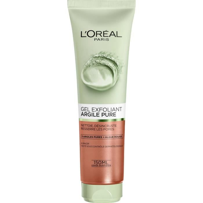 L'OREAL PARIS Gel exfoliant visage Skin expert 3 Argiles pures + algues rouges - 150 ml