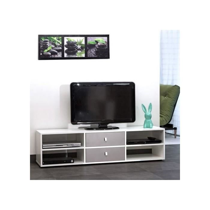 Meuble tv 4 niches 2 tiroirs 148 5 cm blanc taupe for Meuble tv blanc tiroir
