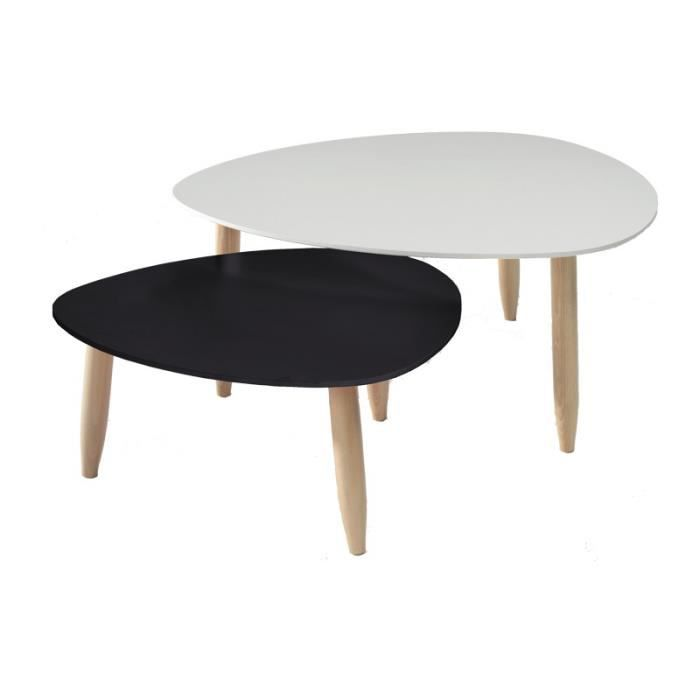 Tables gigognes blanc noir ovni l 80 x l 80 x h 35 cm for Table de salon style scandinave