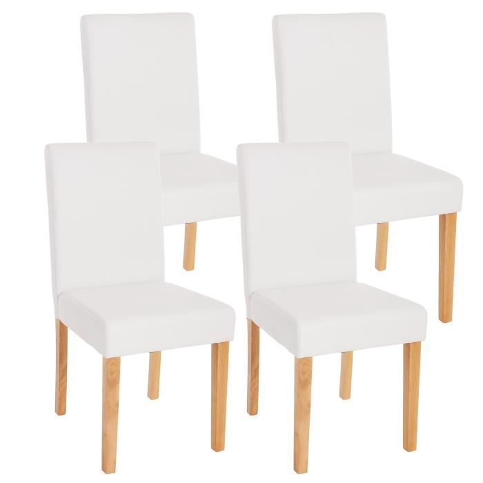 lot de 4 chaises de salle manger simili cuir blanc m t achat vente chai. Black Bedroom Furniture Sets. Home Design Ideas