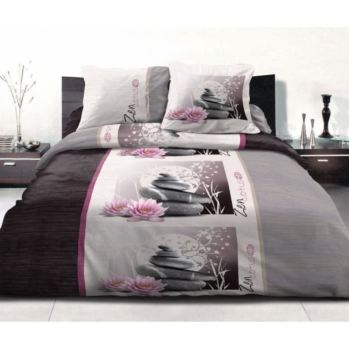 housse de couette 220x240 cm microfibre zen lotus 2 taies d oreiller 63x63 cm achat vente. Black Bedroom Furniture Sets. Home Design Ideas