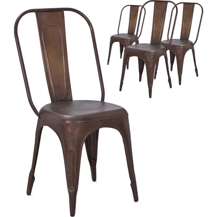 lot de 4 chaises industrielles vintage en m tal coloris marron achat vente chaise marron. Black Bedroom Furniture Sets. Home Design Ideas