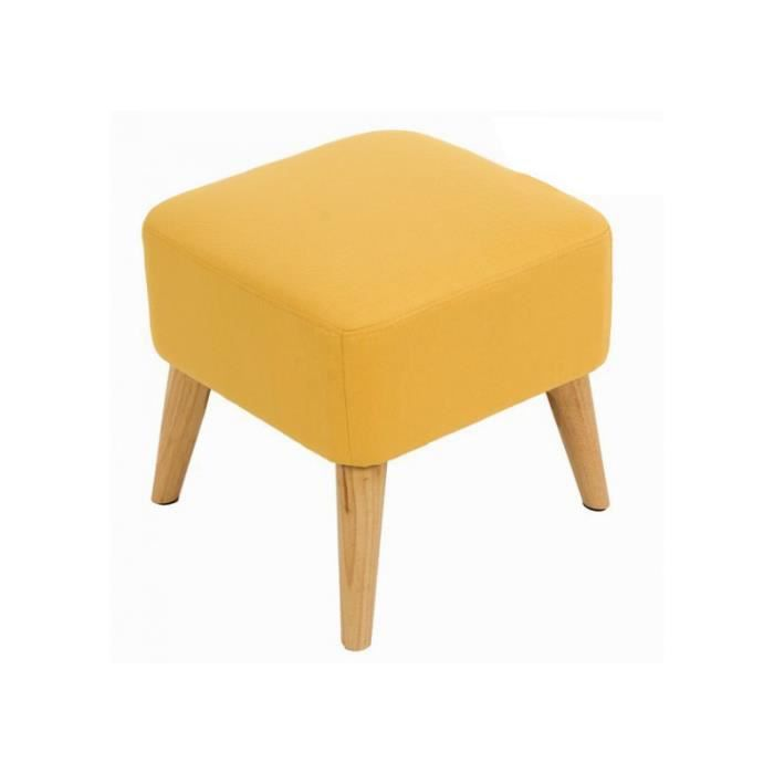 tabouret jaune carr bois tissu style scandinave chic 40x40x40cm achat vente tabouret. Black Bedroom Furniture Sets. Home Design Ideas