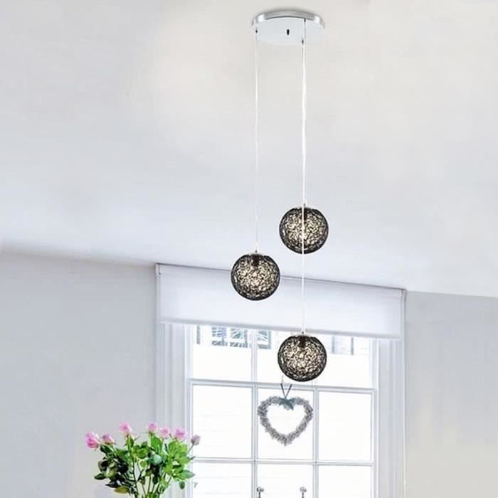 Suspension lustre rotin 3 boules noir noir achat vente for Suspension rotin noir