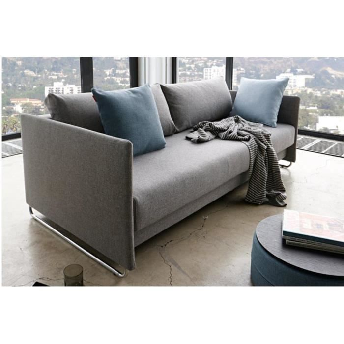 upend canape design tissu gris convertible lit achat vente canap sofa divan cdiscount. Black Bedroom Furniture Sets. Home Design Ideas
