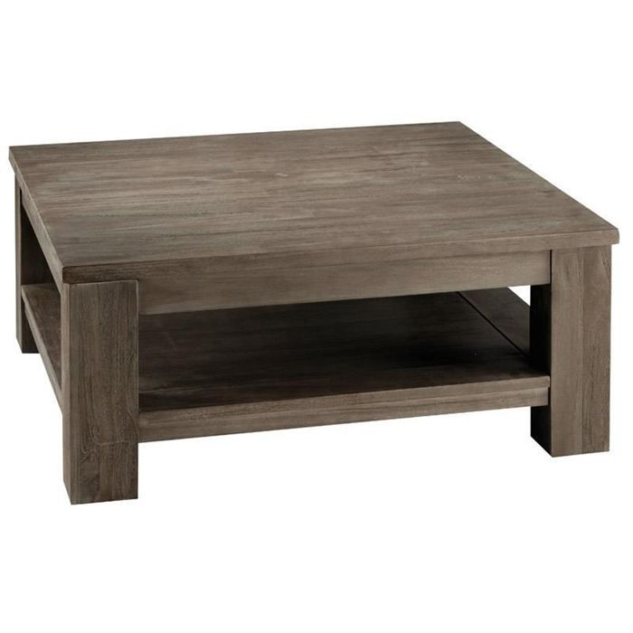 Table basse carr e en teck gris 85x85 cm cosmos achat - Table basse carree grise ...