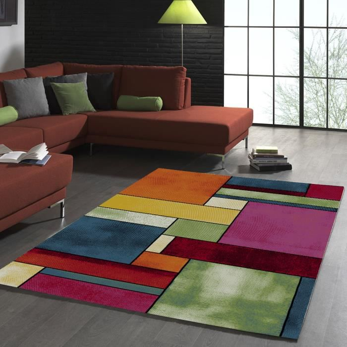 Tapis de salon design geometrique belo 11 multicolore Achat tapis salon