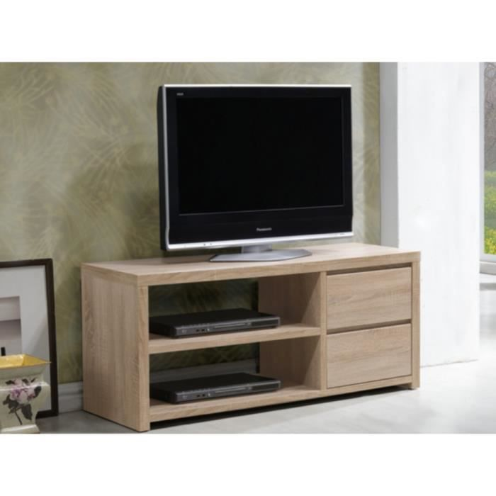 Meuble tv herley 2 tiroirs 2 niches coloris ch ne for Nabou meuble tv mural 319x207 cm chene cendre