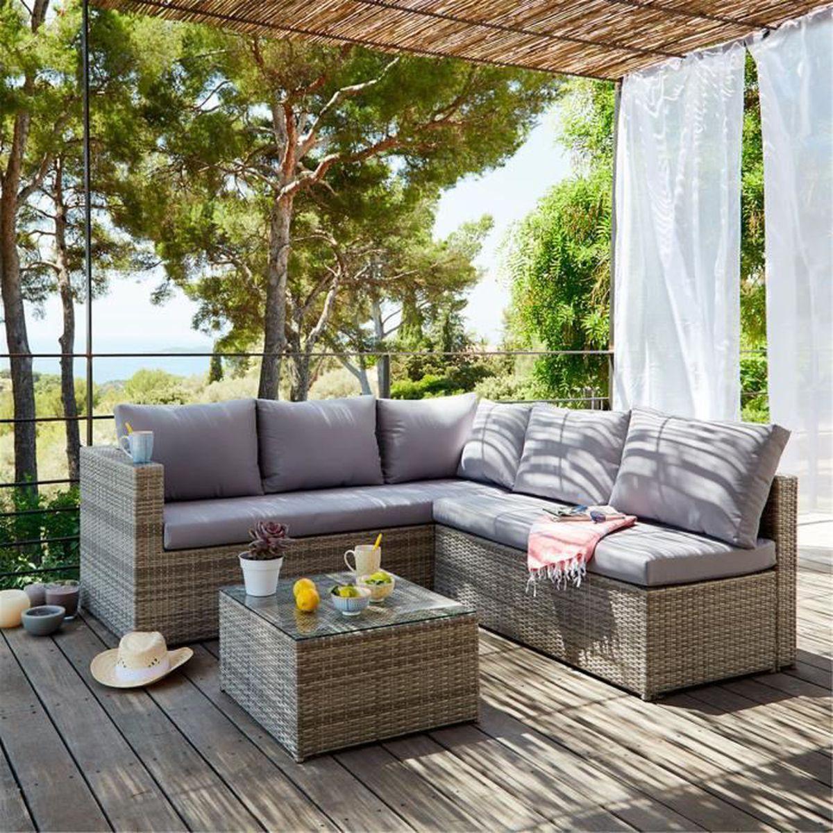 Solange Salon de jardin gris clair effet rotin tressé (4 à 6 ...