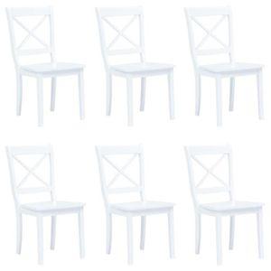 TABLE DE CUISINE  6 pcs Chaises de salle à manger Blanc en Bois d'hé