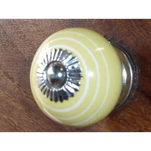 POIGNÉE - BOUTON MEUBLE Boutons en porcelaine trait blanc/jaune argenté