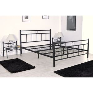 lit adulte metal avec sommier140x190 achat vente lit adulte metal avec sommier140x190 pas. Black Bedroom Furniture Sets. Home Design Ideas