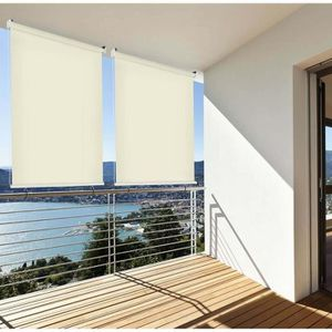 CLÔTURE - GRILLAGE Brise vue Rétractable Vertical pour Balcon - Beige