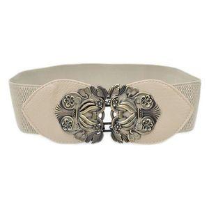 Large élastique noir ceinture//en métal argenté fleur Boucle//Élastique//20